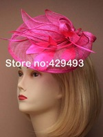 Free Shipping HOT sinamay fascinator in SPECIAL shape with feathers, TOP grade workmanship, Fushia Color