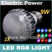 2PCS E27 RGB LED Lamp 9W AC100-240V led Bulb Lamp with Remote Control multiple colour led lighting free shipping