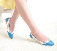 New 2013 free shipping Hot-selling fashionwomen  flats  shoes  shallow mouth single shoes PU pointed toe