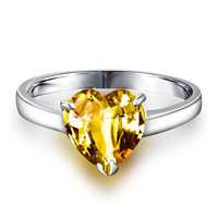LQ Fine Sterling Silver Ring for Women Natural Citrine Stone Estate Jewelry Fashion Rings Silver 925 with Platinum Overlay