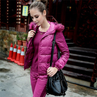2014 Limited Real Freeshipping Regular Solid Shipping!2013 Winter Raccoon Plus Size Coat 3pieces Set Vest Pants Women's Clothing