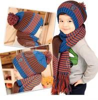 new arrival hot sale free shipping ball hat stripe hat+scarf acrylic kids boys girls scarf hat warm winter fashion brand