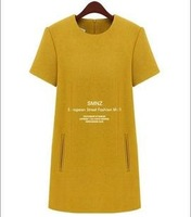 Free Shipping 2013 Fashion Brief Fashion XXL Plus Size Woolen One-Piece Dress Yellow Dress