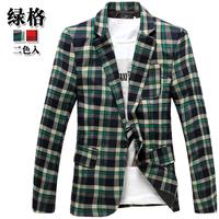 Casual plaid suit cotton blazer male slim plaid men's clothing after placketing outerwear