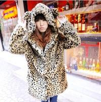 Hot-selling 2013 sweet leopard print ear fur coat long-sleeve overcoat outerwear