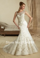 Hot sale wedding  Dress Style 1276 Embroidery on Organza mermaid