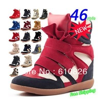 Free shipping Isabel Marant Inspired Wedge Sneakers Genuine Leather Heel 7cm Women Shoes Drop Shipping Height Increasing boots