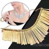 Gold Women Metal Multilayer Chain Tassel Tassels Choker Bib False PENDANT Choker    Collar Necklace
