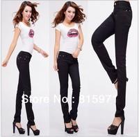 Fashion women black slim cut jeans women skinny long jump pants lady jeans legging wholesale 215