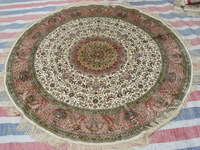 Pink Yellow 5x5'Qum Traditional Persian Handmade Silk Round Rug For Living Room Bed Room On Sale!