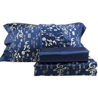 Silk woven damask four piece bedding set vintage silk bedding blue