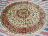 Luxus Red Yellow 5x5'Isfahan Traditional Persian 100%Handmade Silk Round Rug For Living Room Bed Room On Sale!