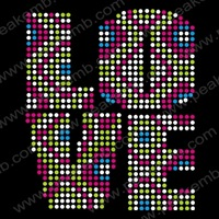 2013 New Design Colorful Love Letter Rhinestone Wholesale Heat Crystal Transfers Iron On Motif Design Free Shipping 50Pcs/Lot