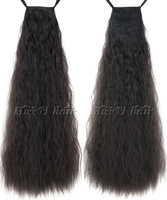60cm(24inch) 110g Long Taro curly synthetic ribbon ponytail black color clip in hair extensions hairpiece