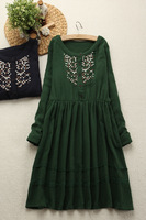 Fresh loose solid color embroidery o-neck long-sleeve dress