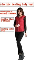 fashion electric heating lady vest,with 12000mha rechargeable battery,for 8-14hours warmout side