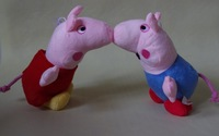 "original brand  with tag plush smiling peppa pig  doll soft stuffed toy height 22cm(8.6"")+jorge pig/ set 2 pcs/lot"