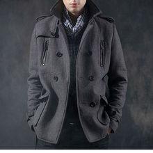 HF1041 HOT Winter Men's Double-breasted Overcoat Coat Short Design Luxury Wool Dark Gray Wind Coat Men Slim Outerwear XS S M L(China (Mainland))