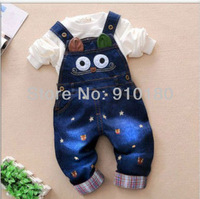 2014 New Baby Overall Boy Jeans Romper,Baby cartoon suspender trousers, spring autumn denim pants, Free shipping