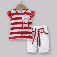 Newest Style Chrismtas Kids Clothing Set Red Striped T Shirt With Flower And White Cotton Pants Baby Girls Suit For Children