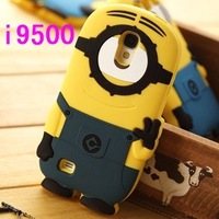 Brand Designer 3D Cute Cartoon Despicable Me Minion Soft Silicone Back Universal Cases Cover  for Samsung s4 Smart Cover