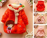 2013  winter  children Parkas  Fashion scarf collar cartoon cotton Girl's coat   baby Parkas  SIZE 3T-6T