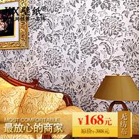 K-x Wallpaper classic fashion flower black and white non-woven brief modern sofa living room wallpaper