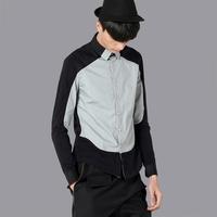 free shipping Shirt male slim long-sleeve patchwork square collar fashion men's clothing 31220009