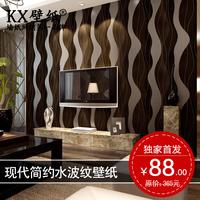 Modern brief k-x wave stripe wallpaper gold silver non-woven tv background wallpaper