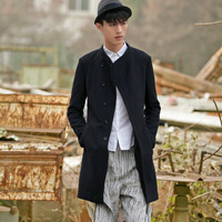 free shipping Fashion men's clothing slanting lapel stand collar wool coat outerwear 24210023
