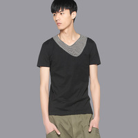 free shipping Fashion men's clothing summer double layer collar color block short-sleeve T-shirt 22230046