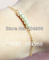 FREE SHIPPING 1 pcs New Women Thin Gold/Silver Metal Chain White Imitation Pearls Hand Bracelets Jewelry