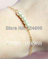 FREE SHIPPING 1 pcs New Women Thin Gold/Silver Metal Chain White Imitation Pearls Hand Bracelets Jewelry