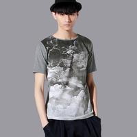free shipping Fashion 2013 men's clothing summer print knitted o-neck short-sleeve T-shirt 32230008