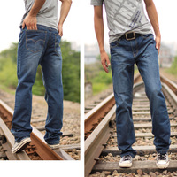 free shipping 2013 men's clothing jeans trousers casual fashion water wash straight jeans mid waist