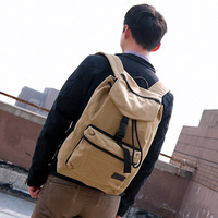 free shipping Backpack casual men's Khaki casual canvas male fashion chinasoft bags leather goods bag