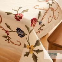Fashion embroidery fabric table cloth embroidery embroidered rustic dining table cloth tablecloth table cloth