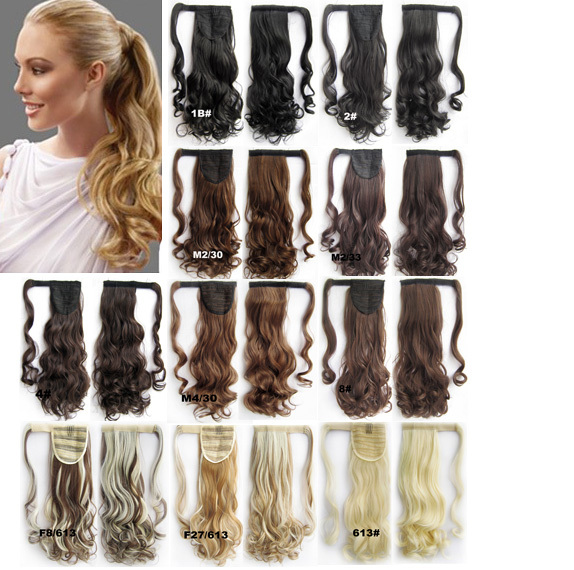 Synthetic Wrap around Ponytail Curl wavy clip in on Invisible ribbon HairPiece Pop Pony 14 colors available 22inches 90g 1pc(China (Mainland))