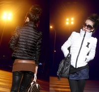 Free Shipping 2013 Hot Winter Thermal Wadded Coat Women's Cotton Padded Jacket Shoulder Pad Outerwear Black White S M L XL