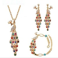 2013 New Fashion Rhinestone Retro Peacock pendant bracelet earrings necklace set for wome free shipping