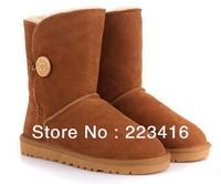 women snow boots genuine sheepskin outside 100% wool inside warm waterproof boots