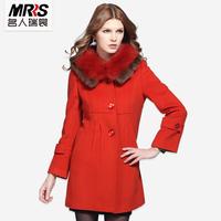 Fox rex rabbit patchwork fur collar wool coat slim woolen outerwear female long design