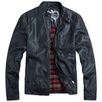 THOOO TOP New HOT GENTLEMEN'S Black pu leather classic Motorcycle jacket Coat Free shipping