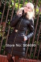 Lady's Down Coat Black Long Jacket For Women Fashion Parka Women Winter Coat Warm Fur Collar Ladies Down Jacket 2013 New Arrival