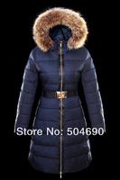 New Arrival Ladies Down Coat Blue Long Style Fashion Winter Coat Warm Fur Collar Nice Brand Women's Down Jacket Parkas
