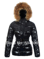 Women Hooded Down Jackets Parka Short Design Fur Collar Warm With Belt Best Quality Fashion Brand Ladies' Down Coat Size XS -XXL
