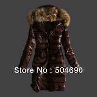Brand Fashion Fur Collar Hood New Arrival Black Brown Parka Winter Down Coat Jacket Women Nantes Long Jacket With Belt
