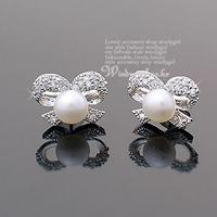 Hot Full Rhinestones bow pearl Stud earrings butterfly Jewelry ED-001