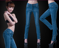 Free Shipping buttons leg elastic waist low waist elastic skinny pants, jeans woman slim pants stretch jeans women 26~32 JD895LK