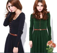 Hot!2013 autumn and winter ladies vintage knitted basic one-piece dress plus size dresses retail free shipping women's clothing